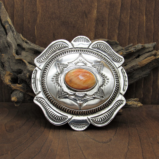 Navajo Sterling Silver Stamped Orange Spiny Oyster Belt Buckle by Kirk Smith