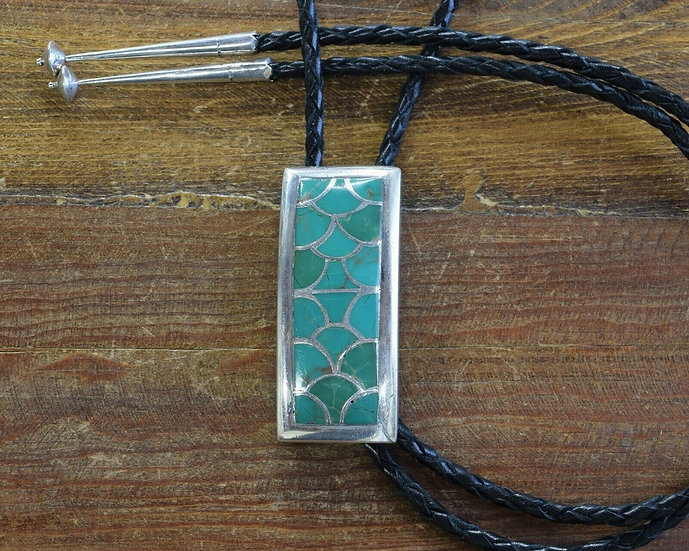 Vintage Mexican Sterling Silver Inlay Green Turquoise Bolo Tie