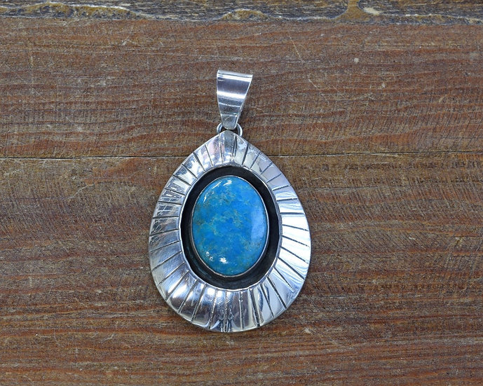 Vintage Sterling Silver and Turquoise Shadow Box Pendant