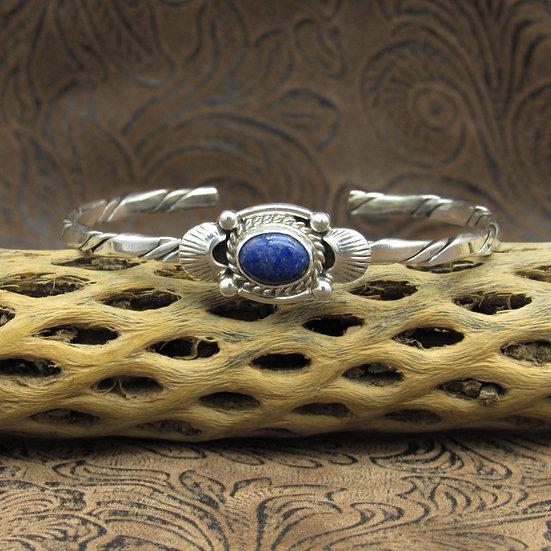 Beautiful Sterling Silver Oval Lapis Cuff Bracelet