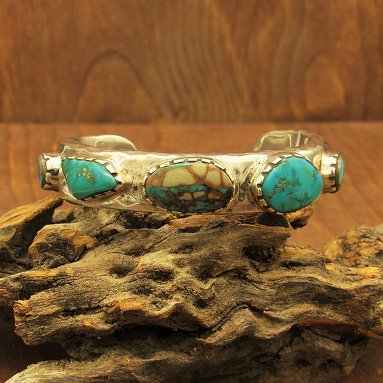 Heavy Southwest Sterling Silver and Turquoise Cuff Bracelet