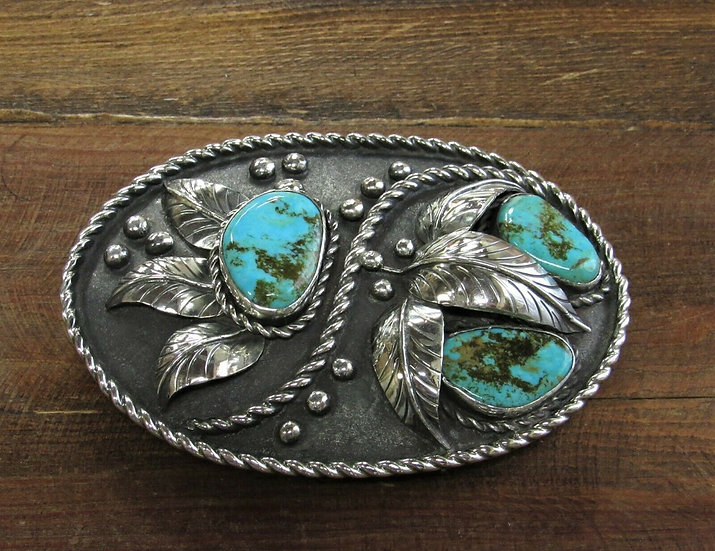 Vintage Turquoise Sterling Silver Belt Buckle by Chet