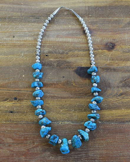 Vintage Sterling Silver and Turquoise Nugget Bead Necklace