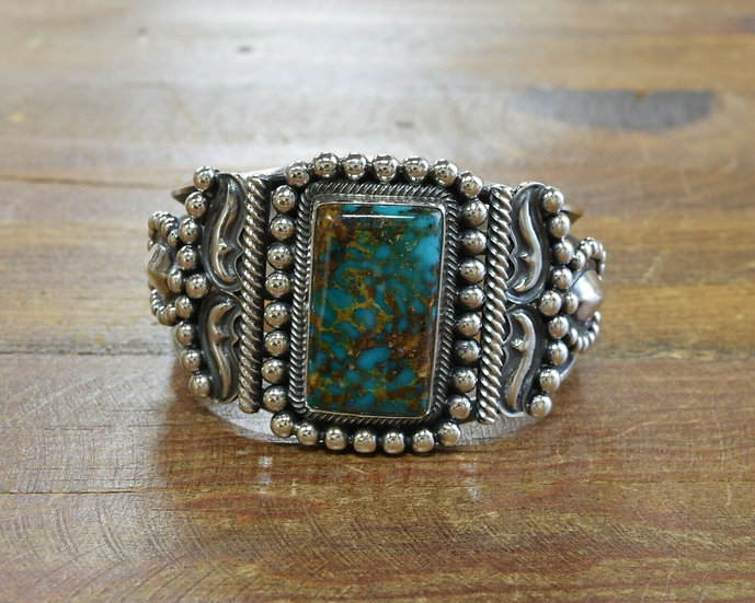 Navajo Sterling Silver and Turquoise Cuff Bracelet by Kirk Smith