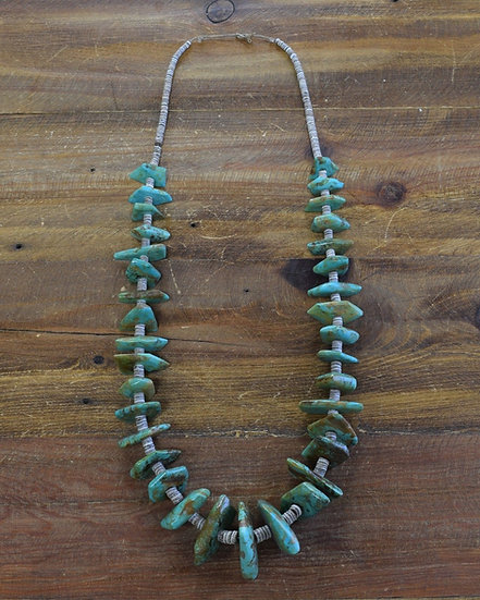 Vintage Southwestern Turquoise and Heishi Bead Statement Necklace