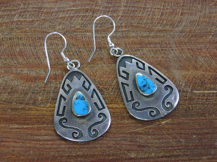 Vintage Southwestern Turquoise Sterling Silver Overlay Dangle Earrings