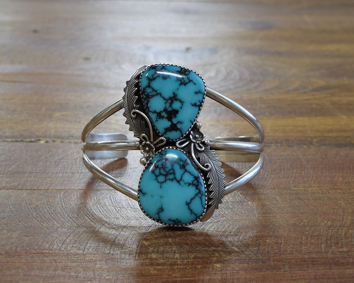 Navajo Sterling Silver and Turquoise Cuff Bracelet by Peterson Johnson