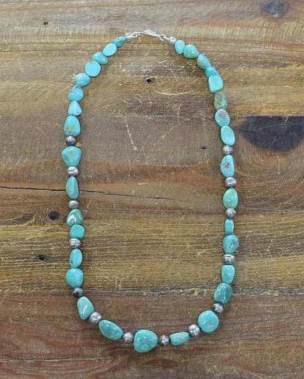 Vintage Green Turquoise and Sterling Silver Bead Necklace