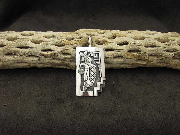 Hopi Sterling Silver Overlay Corn Maiden Pendant