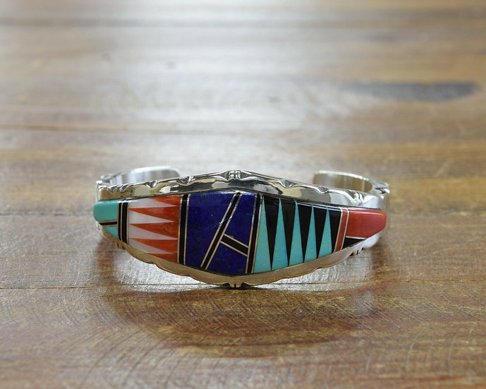 Contemporary Multi-Color Inlay Sterling Silver Cuff Bracelet