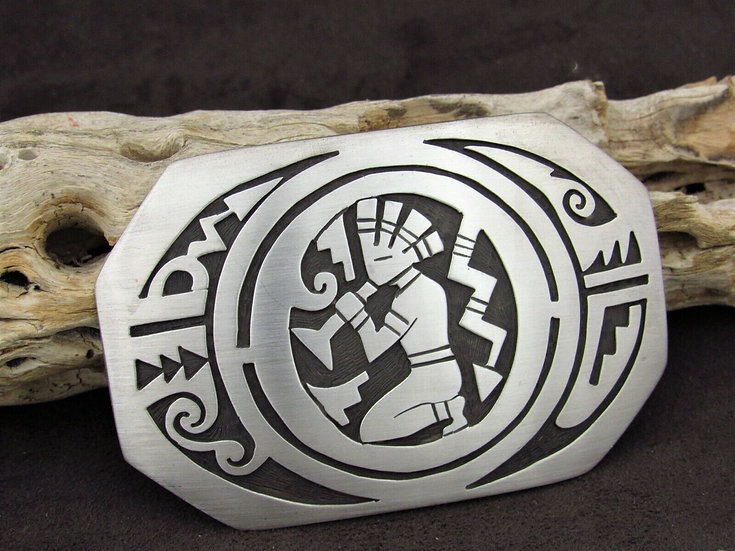 Navajo Kokopelli Sterling Silver Overlay Belt Buckle by Sonny Gene