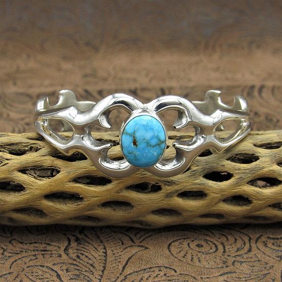 Sandcast Sterling Silver Kingman Turquoise Cuff Bracelet by Rick Tolino