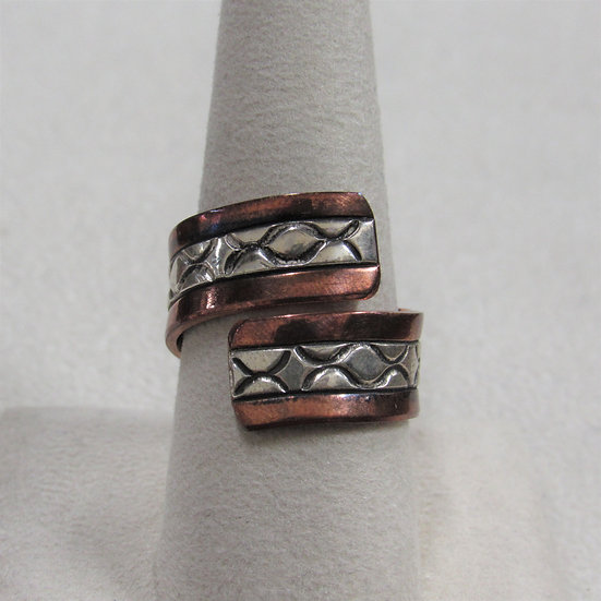 Sterling Silver and Copper Wrap Ring Signed W S
