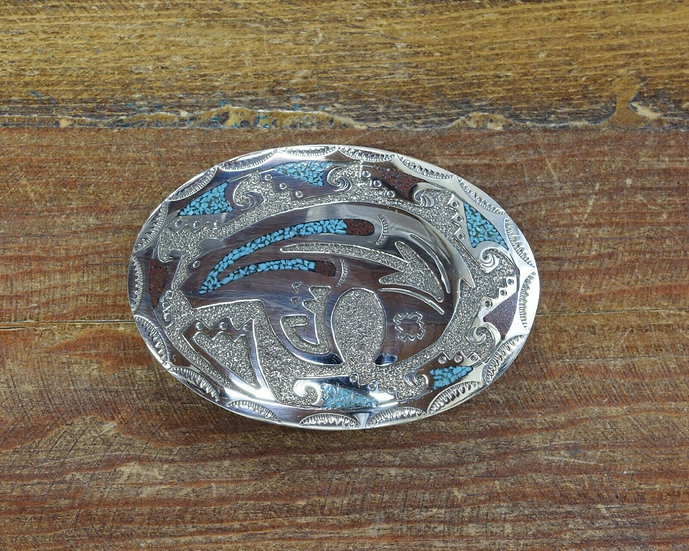 Navajo Turquoise and Coral Chip Inlay Bear Belt Buckle by Raymond Begay