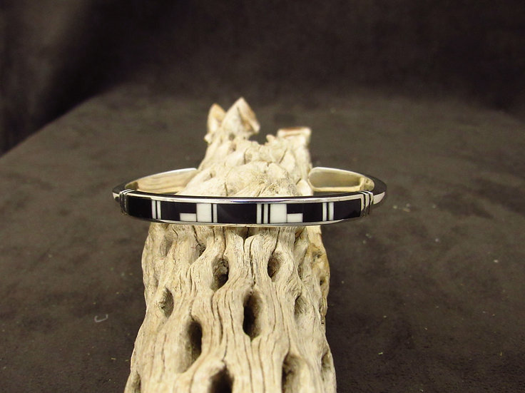 Sterling Silver Jet and Wild Horse Magnesite Inlay Cuff Bracelet