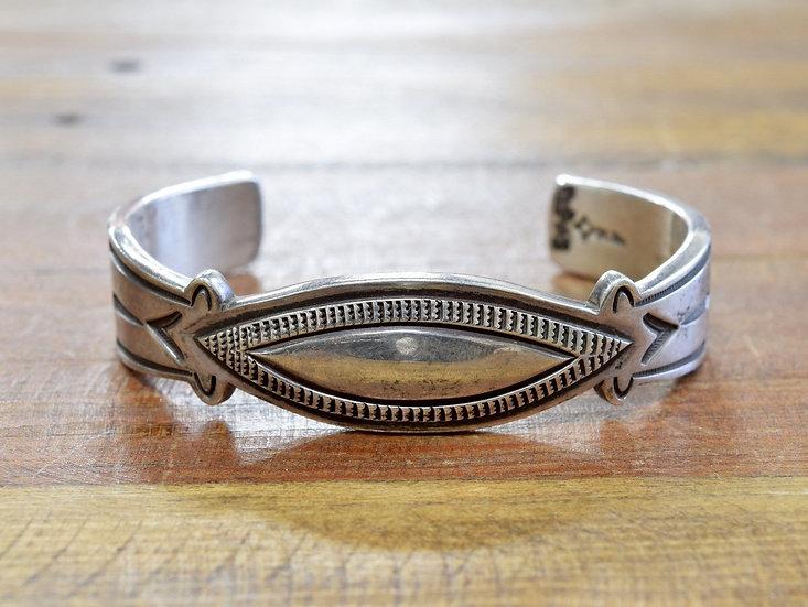 Vintage Navajo Sterling Silver Cuff Bracelet By Norman Bia - Larger Wrist