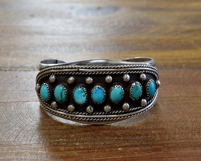 Vintage Southwest Turquoise Sterling Silver Cuff Bracelet