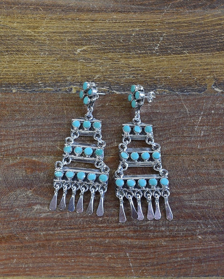 Southwestern Sterling Silver Turquoise Chandelier Post Earrings