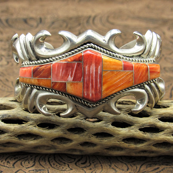 Sterling Silver Sandcast Cuff Bracelet With Inlay Red And Orange Spiny Oyster