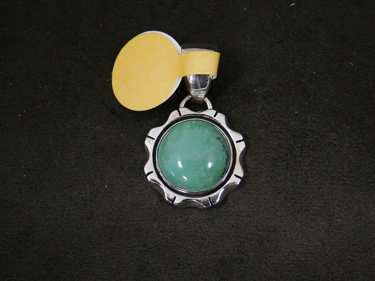 Southwestern Sterling Silver Green Turquoise Pendant