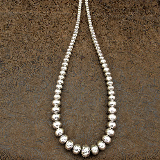 Sterling Silver Graduated Navajo Pearl Necklace