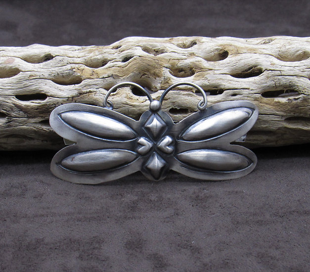Oxidized Sterling Silver Repousse Butterfly Barrette