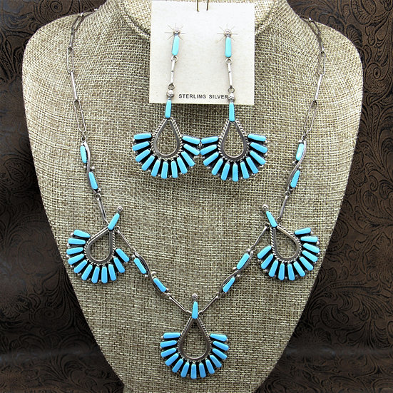 Sterling Silver Cluster Turquoise Necklace And Earrings Set By Carlene Hattie
