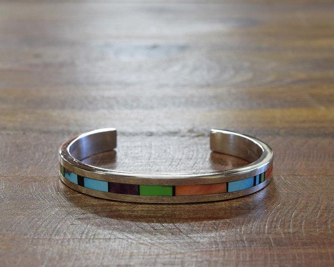 Sterling Silver Multi-Stone Inlay Cuff Bracelet By Tim Yazzie