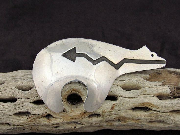 Navajo Sterling Silver Overlay Bear Pin