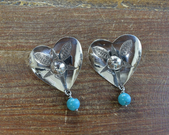 Contemporary Southwestern Stamped Heart Turquoise Earrings