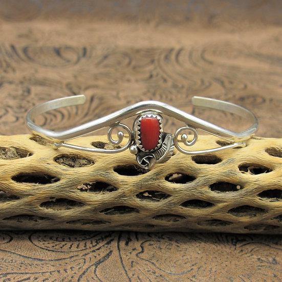 Lightweight Southwestern Sterling Silver Coral Cuff Bracelet