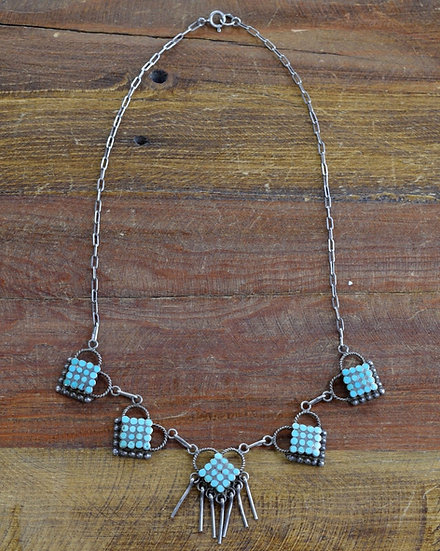 Vintage Turquoise Inlay Sterling Silver And Turquoise Necklace