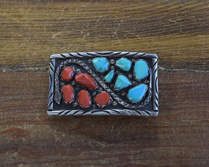 Vintage Zuni Sterling Silver Turquoise Coral Snake Belt Buckle Marvelyne Cheama
