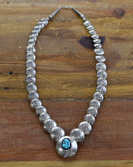 Southwest Turquoise Stamped Pillow Bead Sterling Silver Necklace