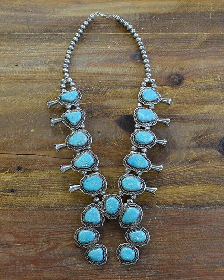 Vintage Southwestern Turquoise Sterling Silver Squash Blossom Necklace