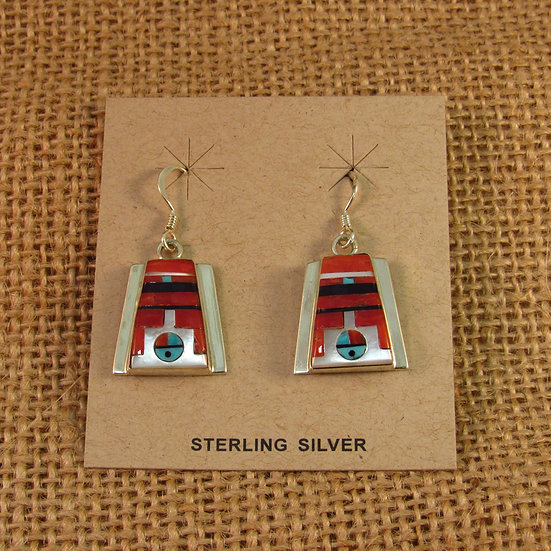 Zuni Coral Sunface Inlay Sterling Silver Dangle Earrings