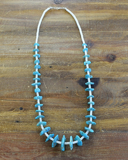 Turquoise and Clam Shell Beaded Necklace