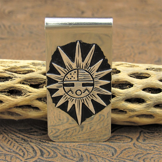 Sterling Silver Oxidized Overlay Sunface Money Clip