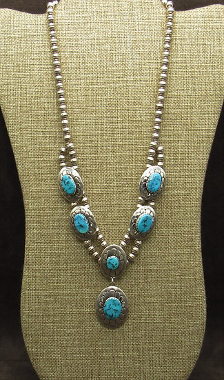 Turquoise and Sterling Silver Flower Stamped Necklace