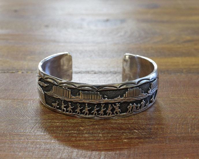 Vintage Sterling Silver Overlay Crown Dancer Cuff Bracelet