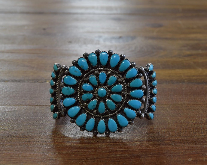 Vintage Turquoise Cluster Sterling Silver Bracelet