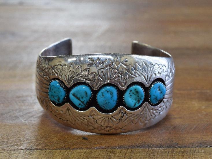 Vintage Navajo Sterling Silver Turquoise Shadowbox Cuff Bracelet