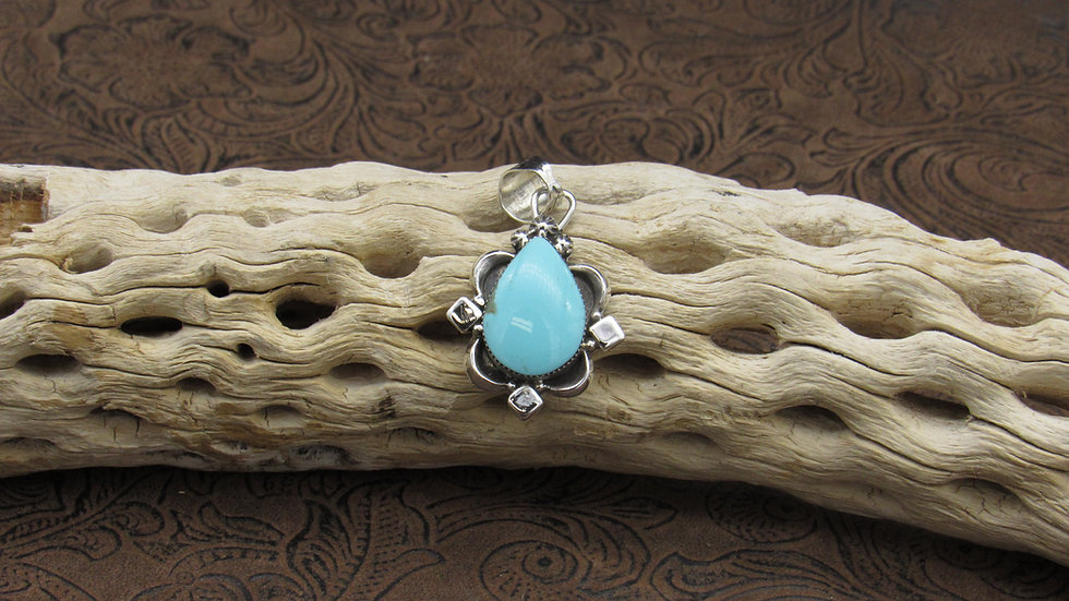 Turquoise Sterling Silver Pendant by Running Bear Workshop