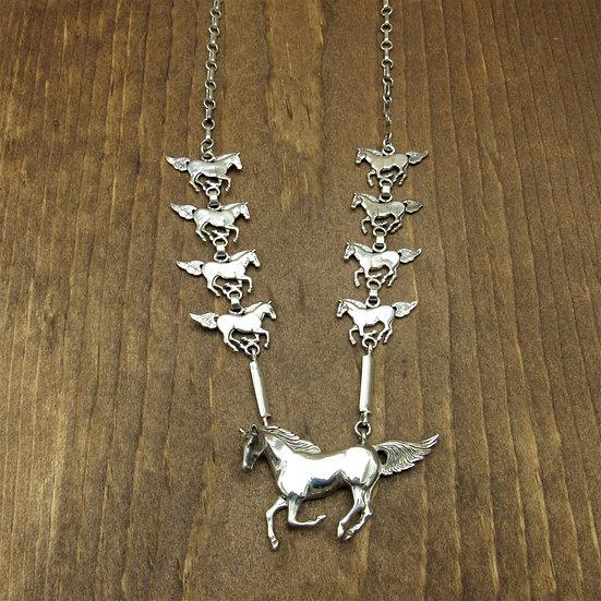 Vintage Southwestern Sterling Silver Horse Necklace