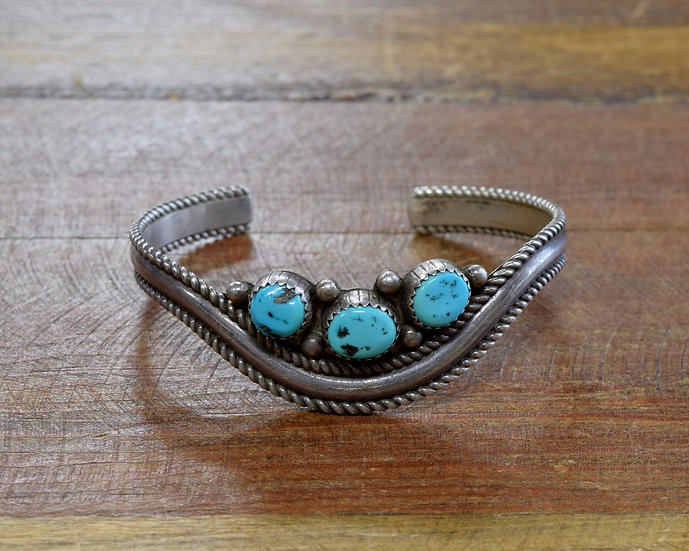 Southwest Sterling Silver and Turquoise Cuff Sweater Bracelet