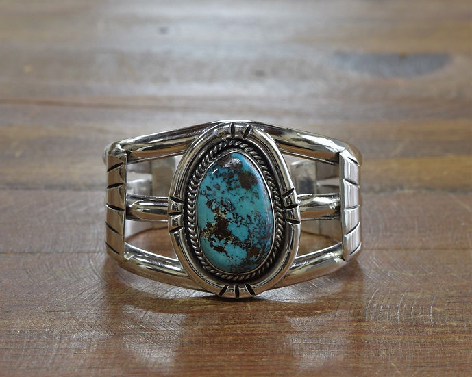 Terrific Southwest Sterling Silver and Turquoise Cuff Bracelet
