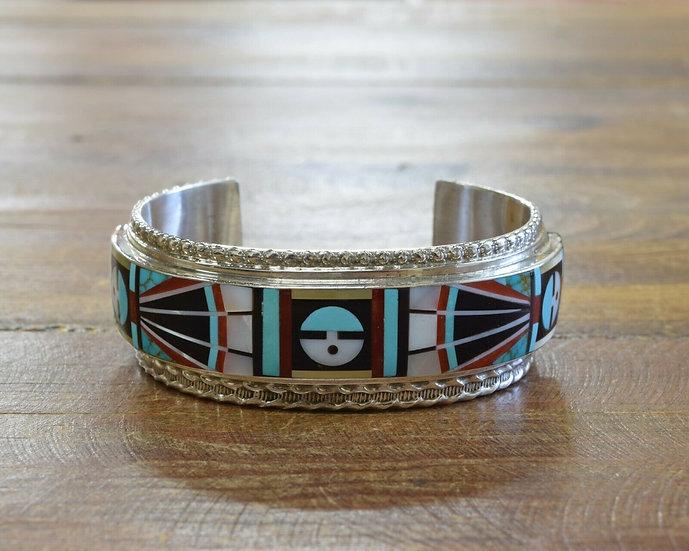 Zuni Mutli-Color Sunface Inlay Bracelet by Rick & Lucy Vacit