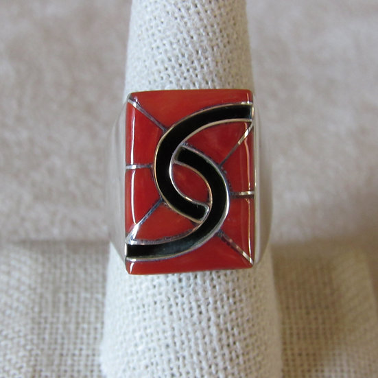 Zuni Amy Wesley Sterling Silver and Coral Men's Ring Size 9.5