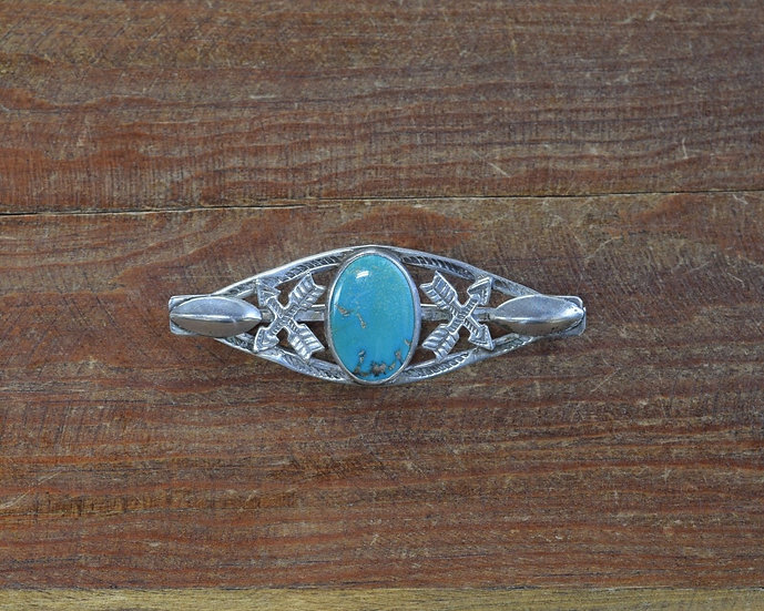 Southwest Sterling Silver and Turquoise Fred Harvey Era pin