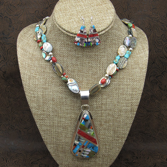 Santo Domingo Sterling Silver Multi-Stone Necklace and Earring Set